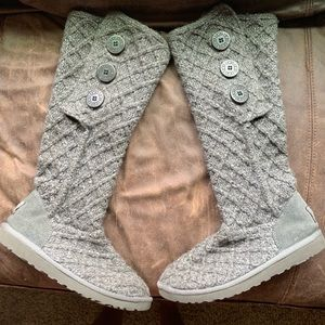 Gray Lattice Knit Cardy UGG Knee High Boots